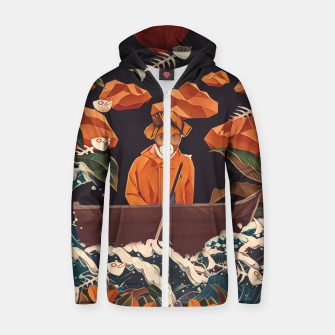 Thumbnail image of Alone in the ocean Zip up hoodie, Live Heroes