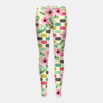 Thumbnail image of Geofloral mix Girl's leggings, Live Heroes
