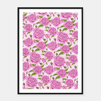 Thumbnail image of Floral Pink Roses Framed poster, Live Heroes