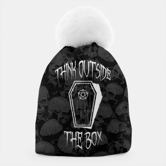 Thumbnail image of Think Outside The Box Goth Coffin Humour Beanie, Live Heroes