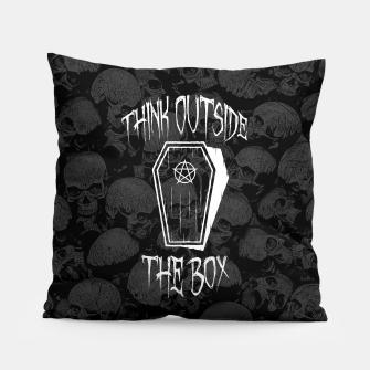 Thumbnail image of Think Outside The Box Goth Coffin Humour Pillow, Live Heroes