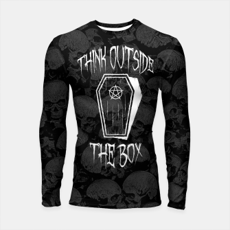 Thumbnail image of Think Outside The Box Goth Coffin Humour Longsleeve rashguard , Live Heroes