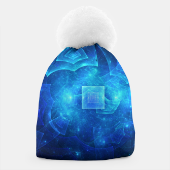 Thumbnail image of Blue Square Universe Abstract Fractal Art Design Beanie, Live Heroes