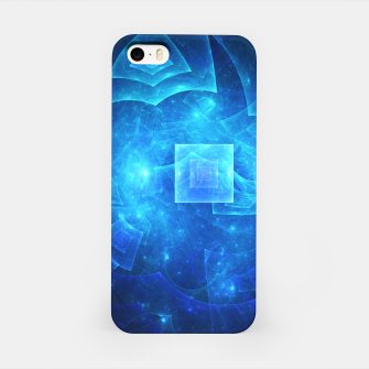 Thumbnail image of Blue Square Universe Abstract Fractal Art Design iPhone Case, Live Heroes