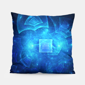 Thumbnail image of Blue Square Universe Abstract Fractal Art Design Pillow, Live Heroes