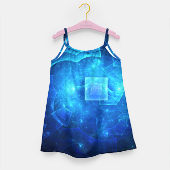 Thumbnail image of Blue Square Universe Abstract Fractal Art Design Girl's dress, Live Heroes