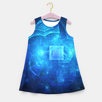 Thumbnail image of Blue Square Universe Abstract Fractal Art Design Girl's summer dress, Live Heroes