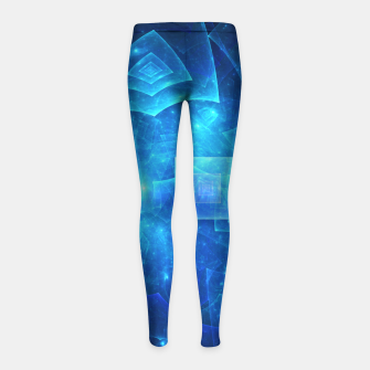 Thumbnail image of Blue Square Universe Abstract Fractal Art Design Girl's leggings, Live Heroes