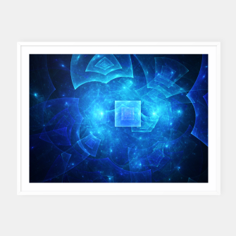 Thumbnail image of Blue Square Universe Abstract Fractal Art Design Framed poster, Live Heroes