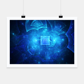 Thumbnail image of Blue Square Universe Abstract Fractal Art Design Poster, Live Heroes