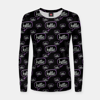 Thumbnail image of Hello Text Banner Motif Pattern Women sweater, Live Heroes
