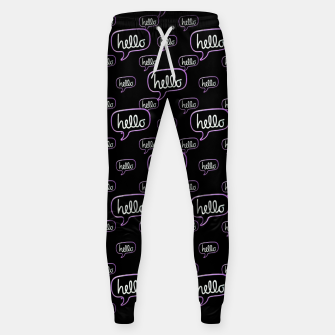 Thumbnail image of Hello Text Banner Motif Pattern Sweatpants, Live Heroes