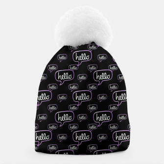 Thumbnail image of Hello Text Banner Motif Pattern Beanie, Live Heroes