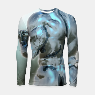 Thumbnail image of Male Chrome Bodybuilder Longsleeve rashguard, Live Heroes