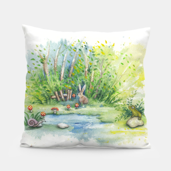 Thumbnail image of Mushrooms, Bunny, Frog and Snail Pillow, Live Heroes