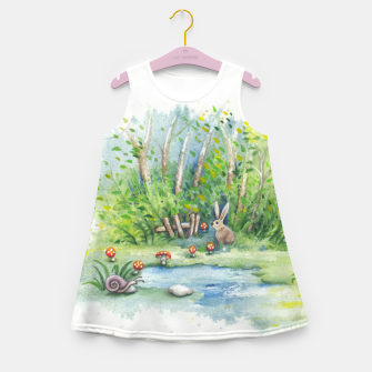 Thumbnail image of Mushrooms, Bunny, Frog and Snail Girl's summer dress, Live Heroes