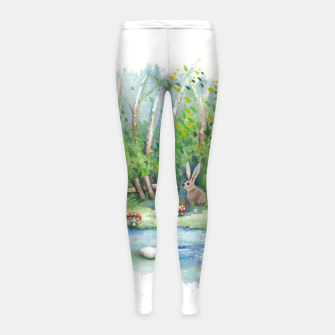 Thumbnail image of Mushrooms, Bunny, Frog and Snail Girl's leggings, Live Heroes