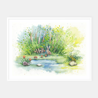 Thumbnail image of Mushrooms, Bunny, Frog and Snail Framed poster, Live Heroes