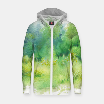 Thumbnail image of watercolor Greenery Zip up hoodie, Live Heroes