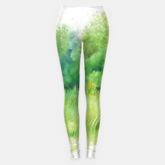 Thumbnail image of watercolor Greenery Leggings, Live Heroes