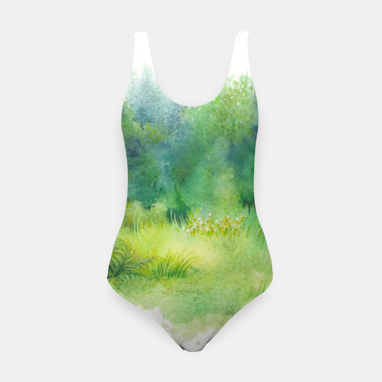 Image of watercolor Greenery Swimsuit - Live Heroes