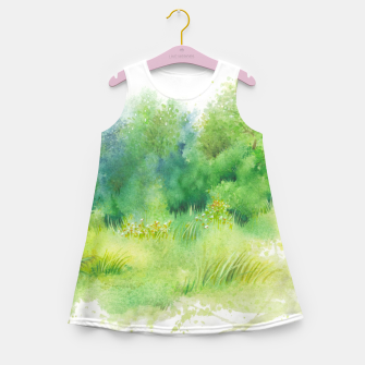 Miniatur watercolor Greenery Girl's summer dress, Live Heroes