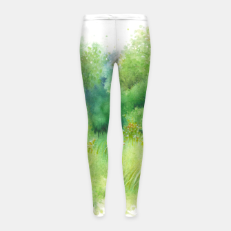 Thumbnail image of watercolor Greenery Girl's leggings, Live Heroes