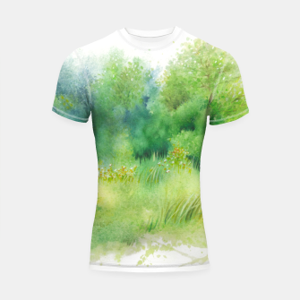 Thumbnail image of watercolor Greenery Shortsleeve rashguard, Live Heroes