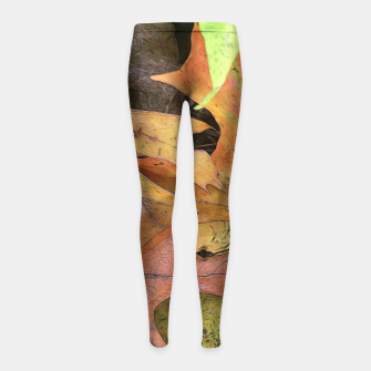 Thumbnail image of Early October Leaves 2 Girl's leggings, Live Heroes