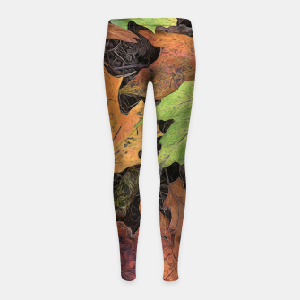 Thumbnail image of Early October Leaves 3 Girl's leggings, Live Heroes