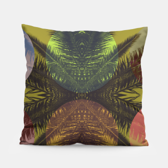 Thumbnail image of Palm tree and shapes Pillow, Live Heroes