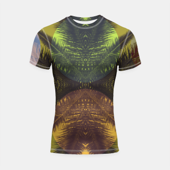 Thumbnail image of Palm tree and shapes Shortsleeve rashguard, Live Heroes