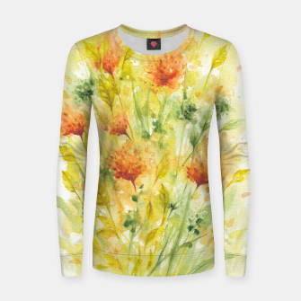 Thumbnail image of Fiery Florals Watercolors Women sweater, Live Heroes