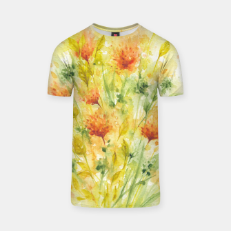 Thumbnail image of Fiery Florals Watercolors T-shirt, Live Heroes