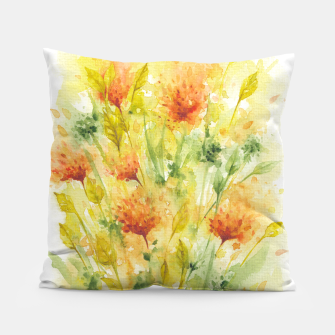 Thumbnail image of Fiery Florals Watercolors Pillow, Live Heroes