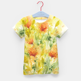 Thumbnail image of Fiery Florals Watercolors Kid's t-shirt, Live Heroes