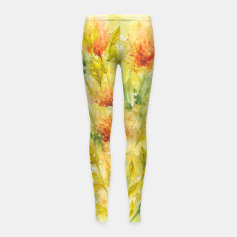 Thumbnail image of Fiery Florals Watercolors Girl's leggings, Live Heroes