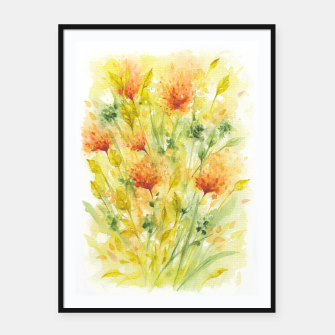 Thumbnail image of Fiery Florals Watercolors Framed poster, Live Heroes