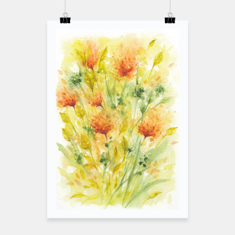 Thumbnail image of Fiery Florals Watercolors Poster, Live Heroes