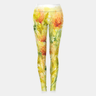 Thumbnail image of Fiery Florals Watercolors Leggings, Live Heroes