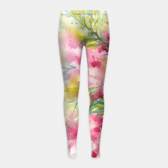 Thumbnail image of Dreamy Pink Floral Girl's leggings, Live Heroes