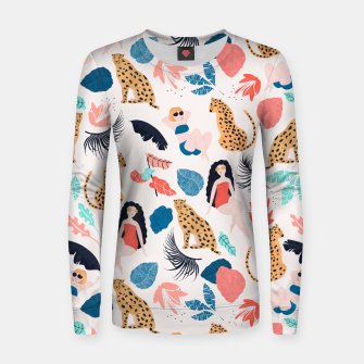 Thumbnail image of Tropical girls and Cheetah Women sweater, Live Heroes