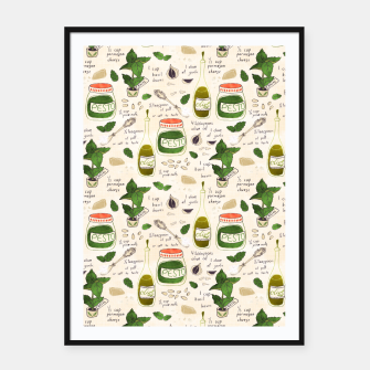 Thumbnail image of Pesto. Seamless Recipe Framed poster, Live Heroes