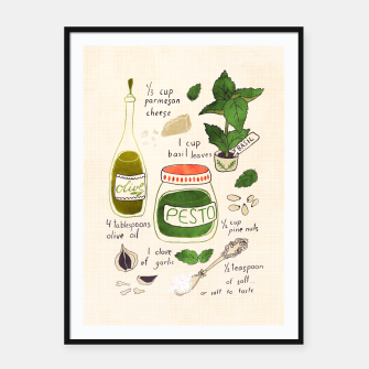 Thumbnail image of Pesto. Illustrated Recipe Framed poster, Live Heroes