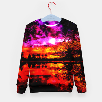 Thumbnail image of gxp colorful autumn lake sunset landscape perfect watercolor Kid's sweater, Live Heroes