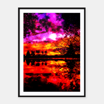 Thumbnail image of gxp colorful autumn lake sunset landscape perfect watercolor Framed poster, Live Heroes