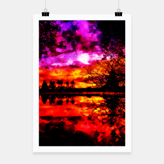 Thumbnail image of gxp colorful autumn lake sunset landscape perfect watercolor Poster, Live Heroes