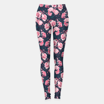 Thumbnail image of Navy and Pink Abstract Rose Floral Pattern Leggings, Live Heroes