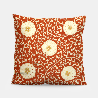 Thumbnail image of cream dahlia pattern - elegant Chinese motifs  Pillow, Live Heroes