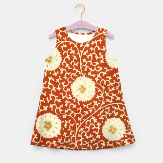 Thumbnail image of cream dahlia pattern - elegant Chinese motifs  Girl's summer dress, Live Heroes